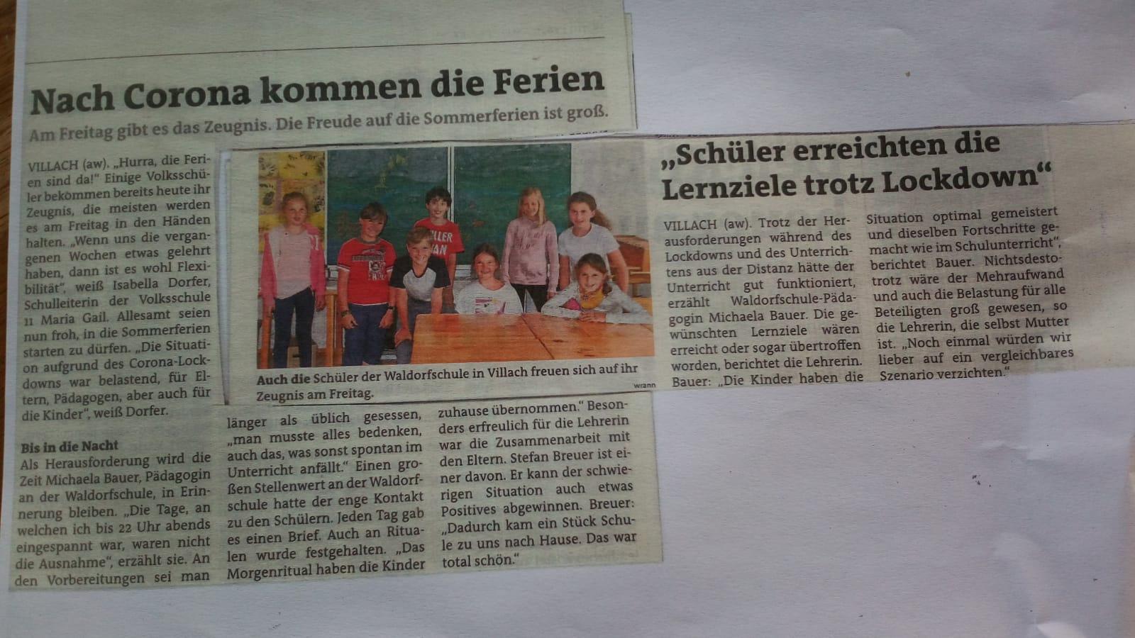 Waldorfschule Villach in der Zeitung